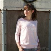 Sweater Heather Pink - No 5 Horse Paris - NN-SATN5-PWS - front