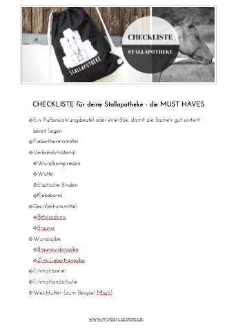 Checkliste Stallapotheke
