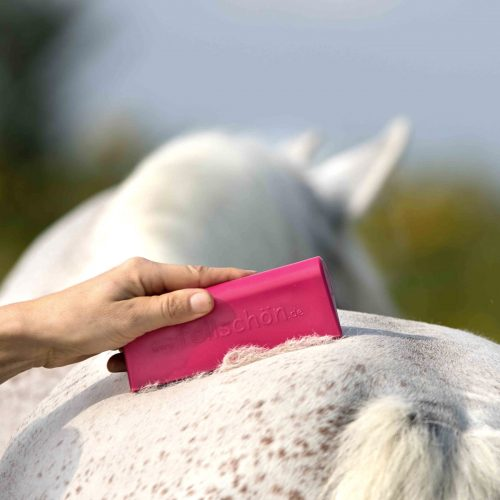 Fellschoen Produktbild Bürste Magentapink an Pferd mit Fell total