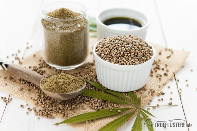 Hanf Samen im Schälchen, mit Hanföl und Pflanze dekoriert